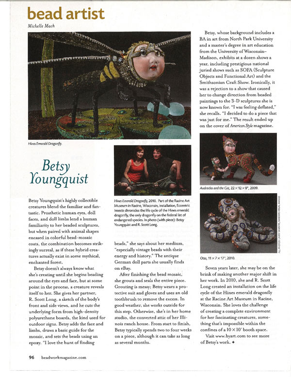 Super Beadwork Magazine wrote a fantastic article in their June/July issue about Betsy Youngquist's art.