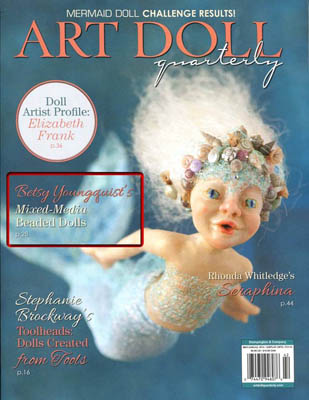 "Art Doll Quarterly Summer 2014 available in May features a step by step ""how-to"" on Betsy's beaded mosaic process."